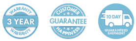 3 Year Warranty, Customer Happiness, 10 Day Delivery Icons